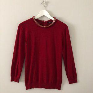 💸💸Zara Red Sweater w Gold Embellished Collar